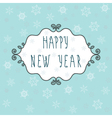 Happy New Year greeting card with decorative frame vector image