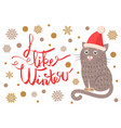 i like winter poster with cat vector image vector image
