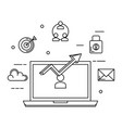 laptop with statistics arrow and business icons vector image vector image