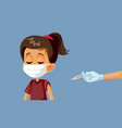 little girl wearing face mask getting vaccinated vector image