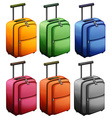 Luggages in six colors vector image vector image