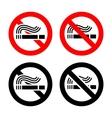 No smoking symbols set vector image vector image