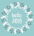 pastel laurel wreath hello new year 2018 vector image vector image