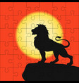 puzzles template with square grid with lion on vector image