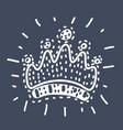queen crown line icon outline vector image