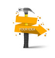 realistic 3d hammer and paper banner vector image