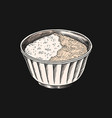 salt or sugar in a bowl spices or cereals vector image vector image