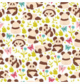 seamless pattern with pandas on a white vector image