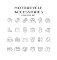 set icons motorcycle clothes and accessories vector image vector image
