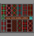 set in red tartan seamless pattern background vector image vector image
