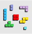set of colorfull tetris game of pixel bricks vector image vector image