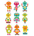 set of isolated colorful robots vector image