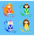 set of small princesses with hearts vector image vector image