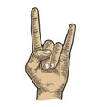 sign horns hand gesture sketch engraving vector image