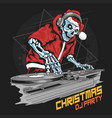 skull santa claus with christmas jacket and hat vector image