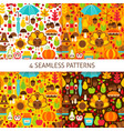 thanksgiving day seamless patterns vector image
