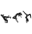 Three modern dancers silhouettes vector image vector image