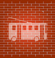 trolleybus sign whitish icon on brick vector image vector image