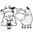 Two funny cows vector image vector image