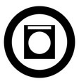 washing machine icon black color in circle vector image vector image