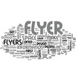 what makes an effective flyer text word cloud vector image vector image