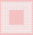 white lace square doily on a pink background vector image vector image