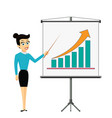 woman businessman showing on the board financial vector image