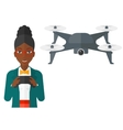 Woman flying drone vector image