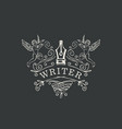 writer logo or icon with nib and angels vector image