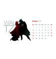 2019 dance calendar october little red riding vector image vector image
