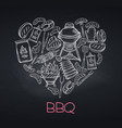 bbq party template blackboard style vector image