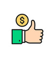 best loan service flat color line icon isolated vector image