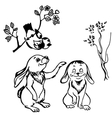 bird and rabbits vector image