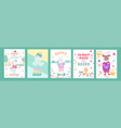 birthday cards with quotes for bagirl and kids vector image vector image