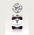 black currant jam label packaging can lid pattern vector image vector image