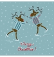 Christmas deers on skates vector image vector image