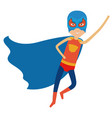colorful silhouette with superhero boy flying in vector image