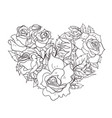 coloring page with roses in shape a heart vector image