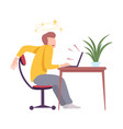 dizziness young man sitting at desk looking vector image vector image