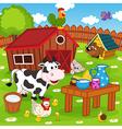 farm animals in barnyard vector image vector image
