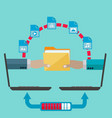 file sharing and transfer concept vector image