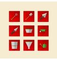 Flat icons for gardening tools vector image