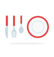fork spoon knife and plate with red piping flat vector image vector image