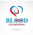 heart shape blood circulation concept charity and vector image