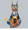 hipster dog Doberman Pinscher breed vector image