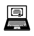 laptop and certificate icon vector image vector image