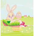 little rabbit in gift box easter surprise present vector image