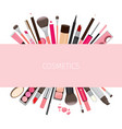 Makeup cosmetics tools on banner