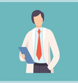 male doctor holding clipboard professional vector image vector image