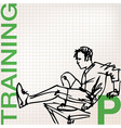 Man doing stretching exercises at the gym vector image